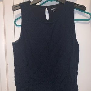 navy eyelit sleeveless blouse